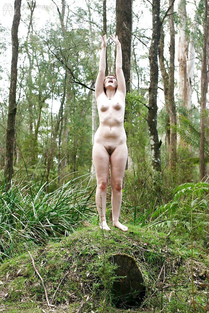 Chubby naked in the woods